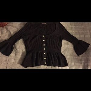 Betsey Johnson black Sweater L w/ Crystal Buttons